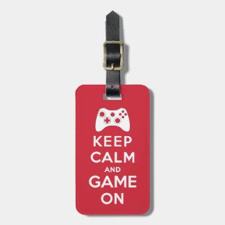 Houd kalm en spel kofferlabel