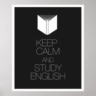 Houd Kalm en Studie het Engels Poster