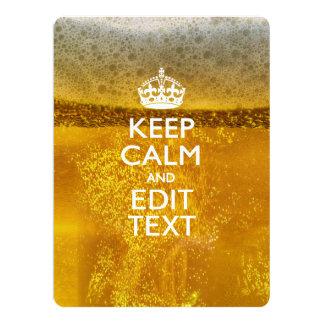 Houd Kalm en Uw Tekst voor wat Bier 16,5x22,2 Uitnodiging Kaart