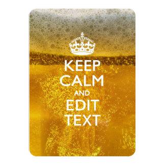 Houd Kalm en Uw Tekst voor wat Koel Bier 11,4x15,9 Uitnodiging Kaart