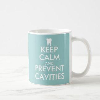 Houd kalm en verhinder holtenmok voor tandarts basic witte mok
