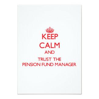 Houd Kalm en vertrouw op de Manager van het Fonds 12,7x17,8 Uitnodiging Kaart