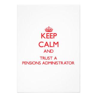Houd Kalm en vertrouw op een Beheerder van Pensioe Persoonlijke Uitnodigingen