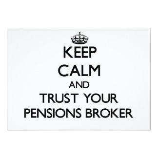 Houd Kalm en vertrouw op Uw Makelaar van Pensioene Custom Uitnodigingen