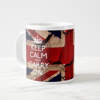 Houd Kalm en vervoer het Vuile Vintage UK Grote Koffiekop