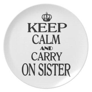 Houd kalm en vervoer Zuster Melamine+bord