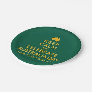 Houd Kalm en vier de Dag van Australië! Papieren Bordje