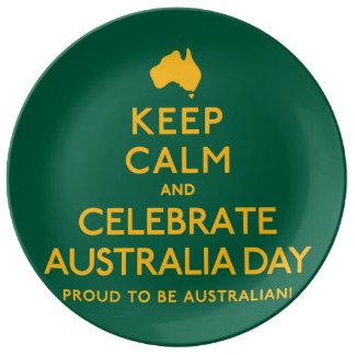 Houd Kalm en vier de Dag van Australië! Porseleinen Bord