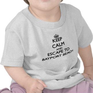 Houd kalm en vlucht aan Bayport Strand New York T Shirt
