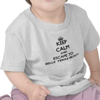 Houd kalm en vlucht aan het Strand New York van T Shirt