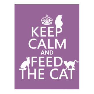 Houd Kalm en voed de Kat Briefkaart