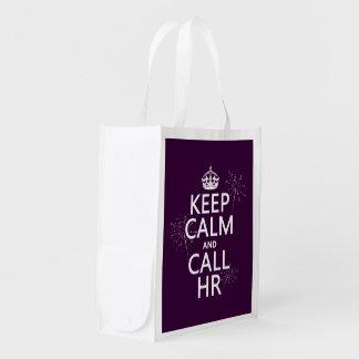 Houd Kalm en Vraag u (om het even welke kleur) Herbruikbare Boodschappentas