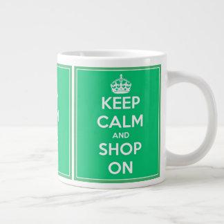 Houd Kalm en winkel op Groen en Wit Grote Koffiekop