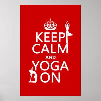 Houd Kalm en Yoga (pas kleuren aan) Poster