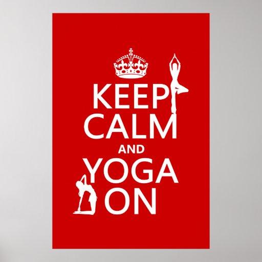 Houd Kalm en Yoga (pas kleuren aan) Print