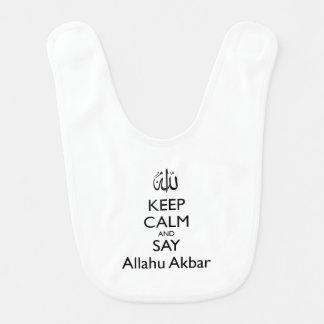 Houd Kalm en zeg de Slab van het Baby van Allahu Baby Slabbetje