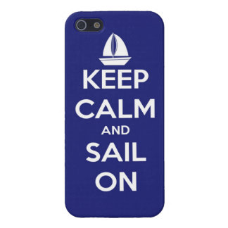 Houd Kalm en Zeil op Blauw iPhone 5 Hoesje