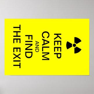 Houd kalm geel punk poster radioactief teken