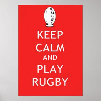 Houd Kalm & speel Rugby Poster