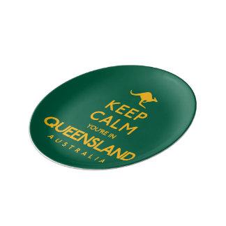 Houd Kalm u zijn in Queensland! Porseleinen Bord