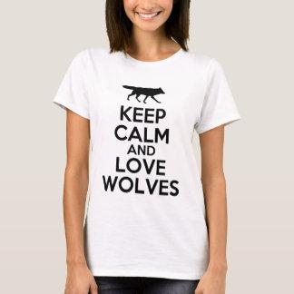 houd kalme en liefdewolven t shirt