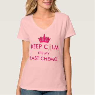 "Houd Kalme Laatste Chemo ""Overlevende"" op rug T Shirt"