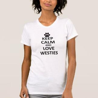 Houd kalme liefde westies t shirt