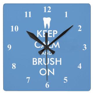Houd Kalme muurklok voor tandartspraktijk Vierkante Klok