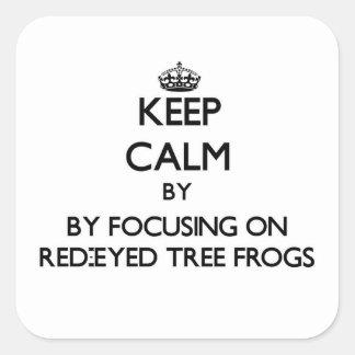 Houd rust door zich op de rood-Eyed Kikkers van de Vierkante Sticker
