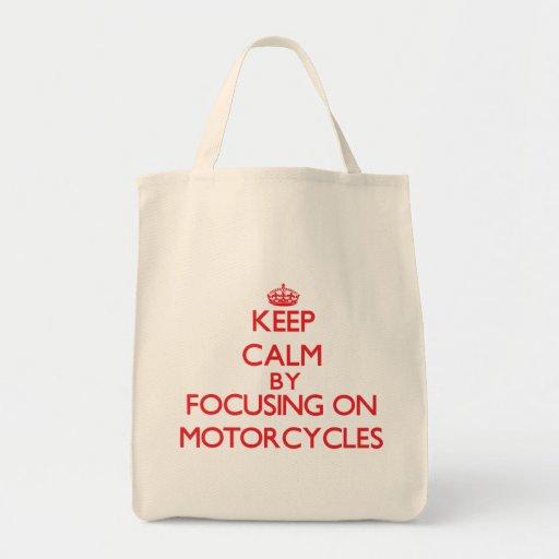 Houd rust door zich op op Motorfietsen te concentr Canvas Tassen