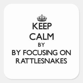 Houd rust door zich op Ratelslangen te concentrere Vierkant Sticker
