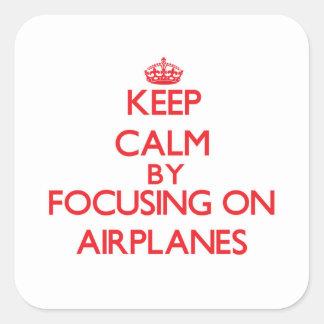 Houd Rust door zich op Vliegtuigen te concentreren Sticker