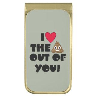 Houd van het Achterschip Emoji Vergulde Geldclip