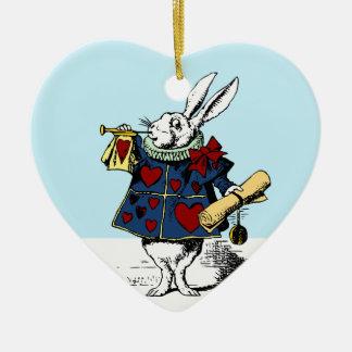 Houd van het Witte Konijn Alice in Sprookjesland Keramisch Hart Ornament