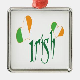 Houd van me het Im Iers Zilverkleurig Vierkant Ornament