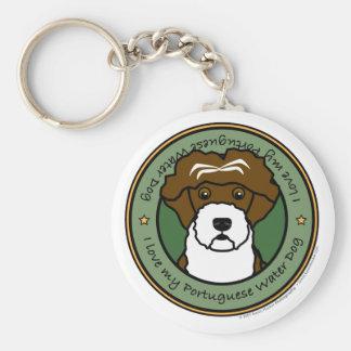 Houd van Mijn Portugese Hond van het Water Basic Ronde Button Sleutelhanger