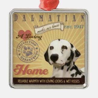 Houdende van Dalmatian maakt Ons Huis van het Huis Zilverkleurig Vierkant Ornament