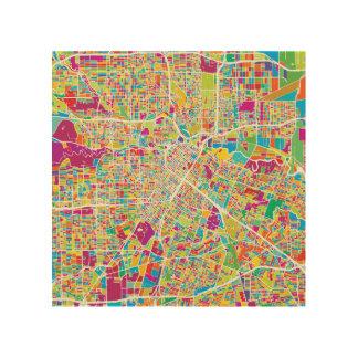 Houston, Texas   Kaart van het Neon Hout Afdruk
