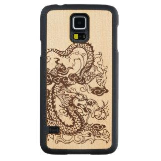 Houten Aziatische Chinese KeizerDraak Esdoorn Galaxy S5 Slim Case