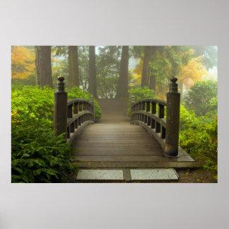 Houten Brug in het Japanse Poster van de Tuin