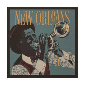 Houten de muurart. van de Muziek van New Orleans Hout Afdruk