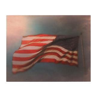 Houten Druk 14 x 11 van de Vlag van Antiqued Hout Afdruk
