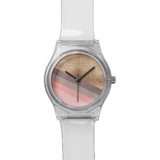 Houten geometrisch art. horloge