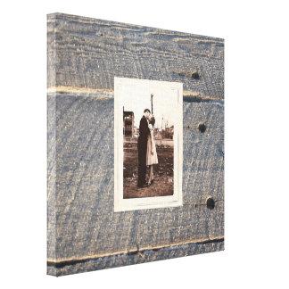houten het landhuwelijk van de rustiek huwelijks canvas afdruk