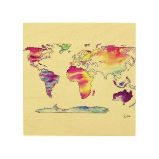 Houten kaart Watercolour van wereld Afdrukken Op Hout