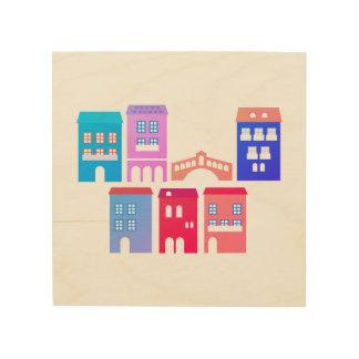 Houten muurkunst: kleuren mengeling hout prints