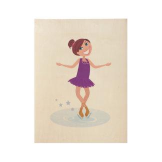 Houten poster met Hand getrokken Meisje/paars