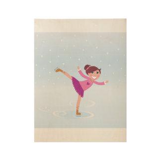 Houten poster met het schaatsende meisje van het
