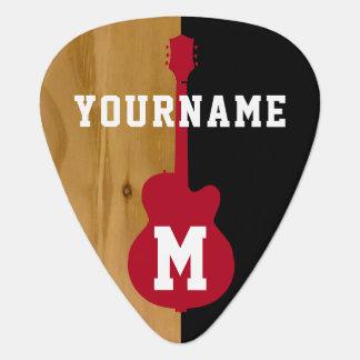 houten/zwarte gepersonaliseerd koel gitaar plectrum 0