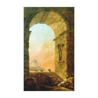 Hubert Robert Landscape met een Boog St. Peter Canvas Print